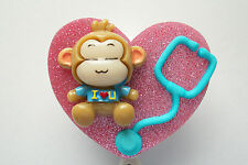 PERSONALIZED NURSE  BLUE MONKEY RN NURSE MEDICAL DOCTOR VET OFFICE BADGE HOLDER