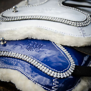 Patent bling open-front jump boots - white or royal - 3 pony sizes
