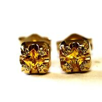 14k yellow gold princess cut yellow sapphire stud earrings vintage new square