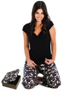 Ladies Pyjamas - Capped Sleeve Top & Elastic Drawstring Pants, Black, Large (14)