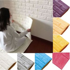 DIY Adhesive 3D Brick Wall Faux Wallpaper Sticker Rustic Features Room Decals