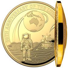 Australien 100 Dollar 2019 50 Jahre Mondlandung - 1 Oz Gold PP Gewölbte Prägung