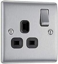 BG Nexus NBS21B Brushed Steel Satin Chrome Single Socket 1 Gang 13 Amp Black