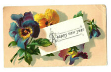 Antique Greeting Card Postcard New Year Purple Yellow Pansy Flowers Scrap Gift