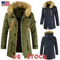 Mens Winter Hooded Parka Warm Jacket Military Coat Faux Fur Collar Trenchcoat US