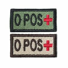 US Military Style Velcro Blood Patch O+ O Pos in Olive and Tan 1x2in