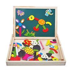 Lavagna Magnetica di Legno con Gessi Gioco Per Bambini Puzzle 70 Pezzi Magnetici