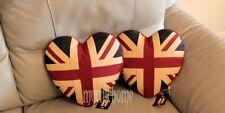 2 x Vintage Union Jack Heart Cushion