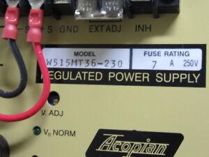 ACOPIAN REGULATED POWER SUPPLY , W515MT36-230, 180-264 VAC, 49-61 HZ