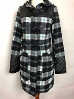 YOKI NY Womans Sz Small Plaid Hood Coat Jacket  Black Multi Zip Front