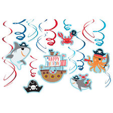 PIRATE PARTY Ahoy Birthday HANGING SWIRL DECORATIONS (12) ~ Supplies Shark Ocean