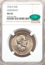 1936-D NGC CAC MS66 Cincinnati Commemorative Silver Half Dollar GEM BU Commem