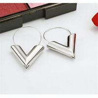 Women Fashion V Shape Luxury Gold Silver Geometric Hoop Earrings Jewelry Gift
