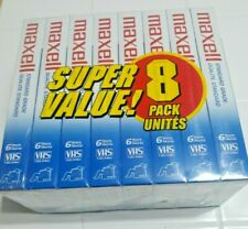 Maxell standard grade 8 pack T-120 blank VHS tapes 6 hours each new sealed