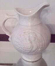 McCoy Turkey Embossed Pitcher White Speckled Thanksgiving Autumn Decorative
