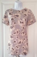 Womens New Look Tunic Top size 10 pink grey flowers short sleeve vgc