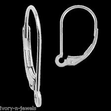 INTERCHANGEABLE 15mm Lite Leverback Earring Wires 14K SOLID White Gold - 1 PAIR