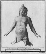 Antichità di Ercolano - Incisione su rame originale del 1767 - Busto di Bacco -