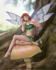 Fairy Pixie Mushroom Fantasy pin up pinup art faery sprite elf Brandy Woods