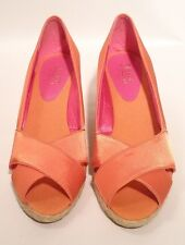 Chaps Womens' Dakota Orange Satin Open Toe Wedge Heel 8.5B  New             (a5)