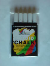 RAINBOW LIQUID CHALK PENS - MARKERS - WET WIPE -PACK OF 5 WHITE x 5MM NIB