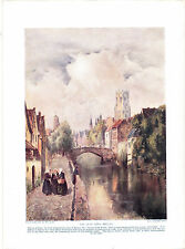 The Quay Vert, Bruges. Scarce Antique Print circa 1916