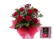 Fresh Flower Delivery,Classic Red Roses With Gypsophila & I Love You Chocolate