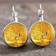 Trendy Glass 18 Mm Lever Back Earrings 1 pair Tree of life Gustav Klimt Silver