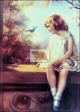 REPRINT PICTURE of older print BLUEBIRD GIRL SITTING ON WINDOW LEDGE 5x7