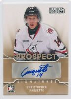 15/16 ITG HEROES & PROSPECTS AUTOGRAPH AUTO CHRISTOPHER PAQUETTE ICEDOGS *52332