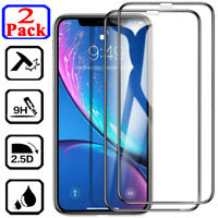 2-Pack For iPhone 11 Pro X XR XS Max FULL COVER Tempered Glass Screen Protector