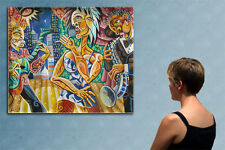 """47"""" -- CUBIST NIGHT PARTY ---------  original painting oil on canvas by  MIU !!!"""