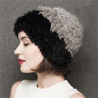 Hot Vogue Women Winter Nature Fur Headgear Knitted Cap Real Farms Rabbit Fur Hat
