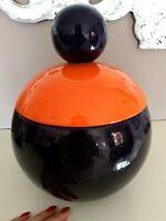 Vase Runde Mit Deckel, Container, Mittelstücke, Blu Orange, Vintage