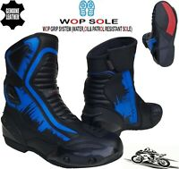 MENS BLUE / BLACK MOTORBIKE / MOTORCYCLE RACING SPORTS LEATHER SHOES SHORT BOOTS