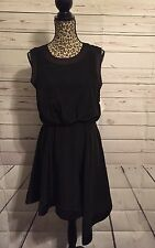 Romeo & Juliet Couture Black Silky Party Dress w/Open Back Size M
