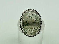 Gorgeous Vintage Studio Sterling Silver Moss Agate Cocktail Ring Small Size D