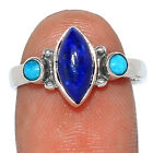 Lapis & Kingman - Blue Mohave Turquoise 925 Silver Ring Jewelry s.7 BR107098