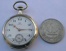 RARE! STERLING SILVER .900 OMEGA WOMEN'S POCKET WATCH SWISS MADE 1914-WORKING