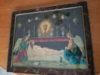 Antique Art Print Chromo Lithograph Jesus Christ in Tomb Christian Angels Cherub
