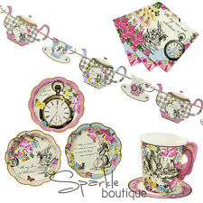 Truly Alice in Wonderland TEA PARTY SET - PLATES, NAPKINS, CUPS & TEAPOT BUNTING