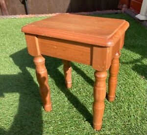 Vintage Wooden Solid Pine Foot  Bench Stool Side Table Plant Pot Stand Aged  (6)