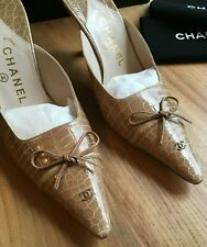 Authentic Rare and Impeccable Chanel Genuine Beige Alligator Mules RRP $1990