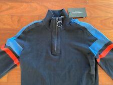 NWT J. Lindeberg Navy Case Cotton Coolmax Golf 1/4 Zip Pullover Sweater M $195