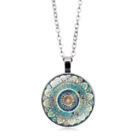 Blue Flower Chakra Flower Pendant Mandala Jewelry Sacred Geometry Necklace New