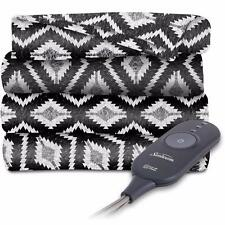 Sunbeam Black and White T Plaid Heated Throw Blanket Fleece Electric EXTRA SOFT
