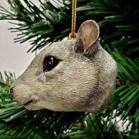 """GRAY SQUIRREL HEAD CHRISTMAS ORNAMENT 2.5"""" SLAVIC TREASURES"""