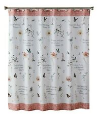 Inspire Fabric Shower Curtain Wildflower Songbirds Bible Verses Polyester NEW