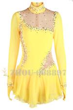 Ice Figure Skating Dress Gymnastics custome Dress Dance Competition Yellow