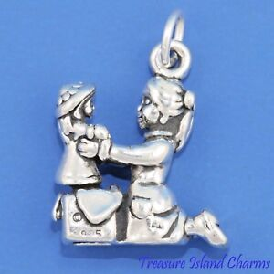Girl with Doll Christmas Present 3D 925 Solid Sterling Silver Charm MADE IN USA